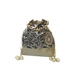 Buy Brocade Batwa with Paisley Motif (Black) potli-bag online