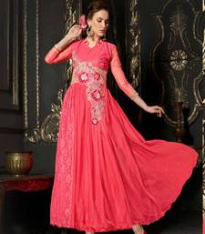 Buy Pleasant Soft Net Hand Embroidered Pink Coloured Designer Gowns party-wear-gown online