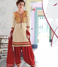 Buy Exclusive Latest Designer Cream And Maroon Patiyala Suits dress-material online