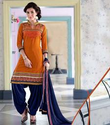 Buy Exclusive Latest Designer Dark Yellow And Navy Blue Patiyala Suits dress-material online