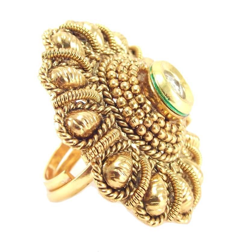 buy jodha style kundan gold plated adjustable finger ring