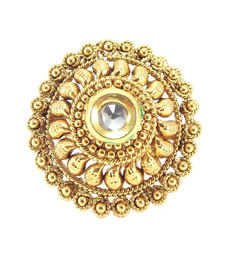 buy wear ruby kundan gold plated adjustable finger