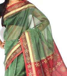 Buy Supernet cotton zari contrast Printed saree supernet-saree online