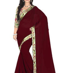Buy Maroon Faux Georgette Saree with Unstitched Blouse georgette-saree online