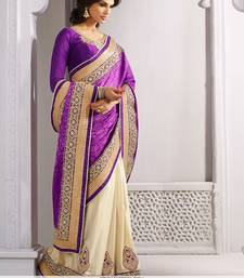 Buy Purple and Cream embroidered jacquard saree with blouse party-wear-saree online