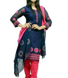 Buy Dark Blue embroidered cotton_silk readymade-suits readymade-suit online