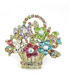 Buy Multi Color Cubic Zirconia 316 Stainless Steel Flower Basket Brooch brooch online