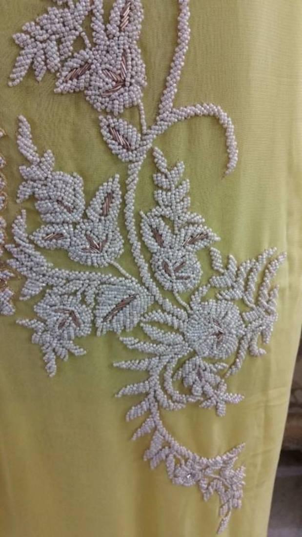 Buy Designer Pearl Work Georgette Kurti Fabric Only Gp51