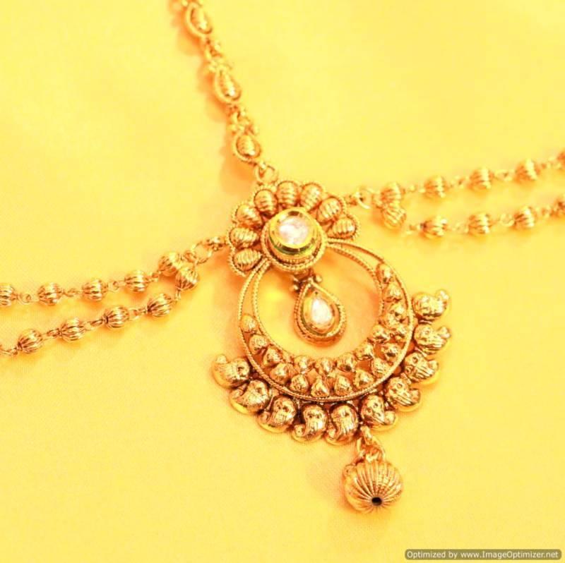 Buy Kundan Gold Look Bridal Maang Tikka Online