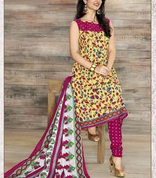 Buy Yellow printed Cotton unstitched salwar with dupatta dress-material online