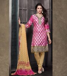 Buy Pink and beige embroidered Chanderi unstitched salwar with dupatta dress-material online