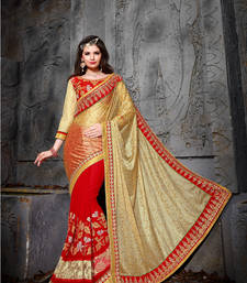 Buy Beige Embroidered Jacquard saree with blouse brasso-saree online
