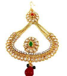 Buy gold plated ruby CZ kundan passa hair accessory hair-accessory online