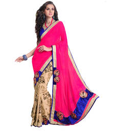 Buy Pink  and  Cream Printed georgette saree with blouse georgette-saree online