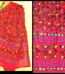 Buy Deep Multicolour Reddish pink Kutch Aari work Embroidery with mirror work fully done over Dupatta stole-and-dupatta online