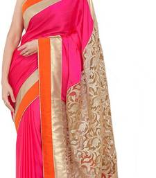 Buy pink and orange embroidered art silk saree with blouse art-silk-saree online