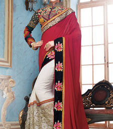Buy Maroon  and  Off White  embroidered georgette saree with blouse wedding-saree online