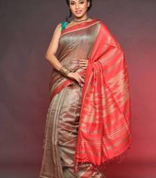 Buy Hand Woven Tusser Silk Saree ECO STREE silk-saree online