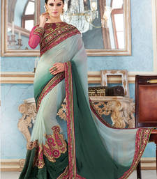 Buy Sea Green  and  Bottle Green  embroidered georgette saree with blouse wedding-saree online