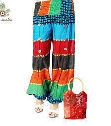 Buy Latest Designer Cotton Handloom Weaved Multi Color Harem Legging Salwar Pants With a Free HandBag other-apparel online