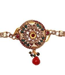Buy Designer & Traditional Style gold plated Green Red Stone Bajuband/ Armlets for indian Women Jewellery bajuband online
