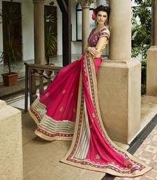 Buy Pink embroidered Net  and  Georgette saree with blouse wedding-saree online