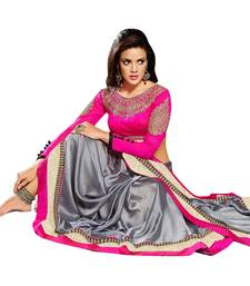 Buy Grey And Pink embroidered satin saree with blouse satin-saree online