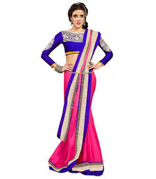 Buy Blue and Pink embroidered satin saree with blouse satin-saree online