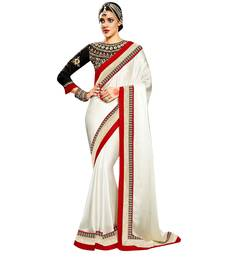 Buy White and Black embroidered satin saree with blouse satin-saree online