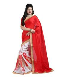 Buy Red embroidered jute cotton saree with blouse art-silk-saree online