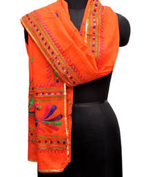 Buy Orange pure cotton pakistani hand work phulkari embroidered dupatta stole-and-dupatta online