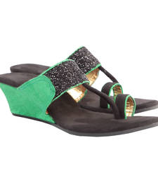 Buy Gorgeous Green Black Kolhapuri Style Wedges wedges-shoe online