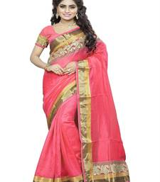 Buy Clear Pink embroidered cotton saree with blouse bhagalpuri-silk-saree online