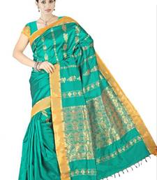 Caribbean green Silk Zari Border Saree PS119 shop online
