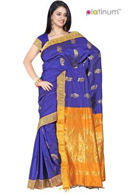 Palatinate blue Latest Silk Zari Border Wedding Wear Saree PS159