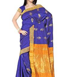 Palatinate blue Latest Silk Zari Border Wedding Wear Saree PS159 shop online