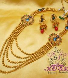 Buy Polki & Zircon Peacock Necklace Necklace online