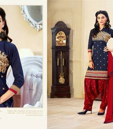 Buy Navy Blue  and  Maroon Color Embroidered Semi Stitched Dress Material eid-special-salwar-kameez online