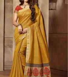 Buy Yellow woven cotton_silk saree with blouse banarasi-silk-saree online