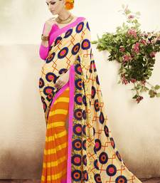 Buy Cream and  Orange Printed Georgette Saree with blouse georgette-saree online