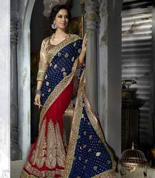 blue embroidered viscose saree with blouse