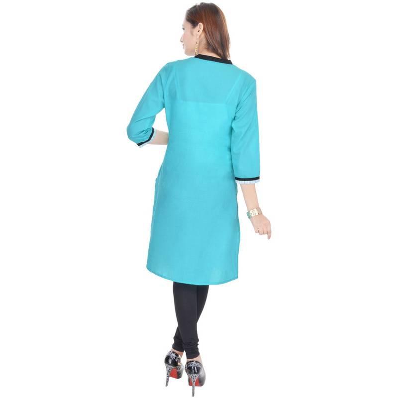 Buy Chinese Collar Blue Sexy Cotton Kurti Online