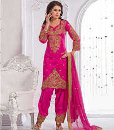 Buy Pink Art Silk And Santoon Heavy Embroidery Semi Stitched Salwar Suit ethnic-suit online