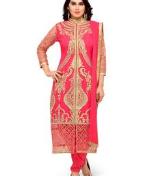 Buy Styles Closet Orange embroidered georgette semi-stitched salwar suit black-friday-deal-sale online