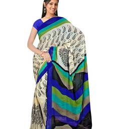 Fabdeal Black & Blue Chiffon Saree With Blouse Piece shop online
