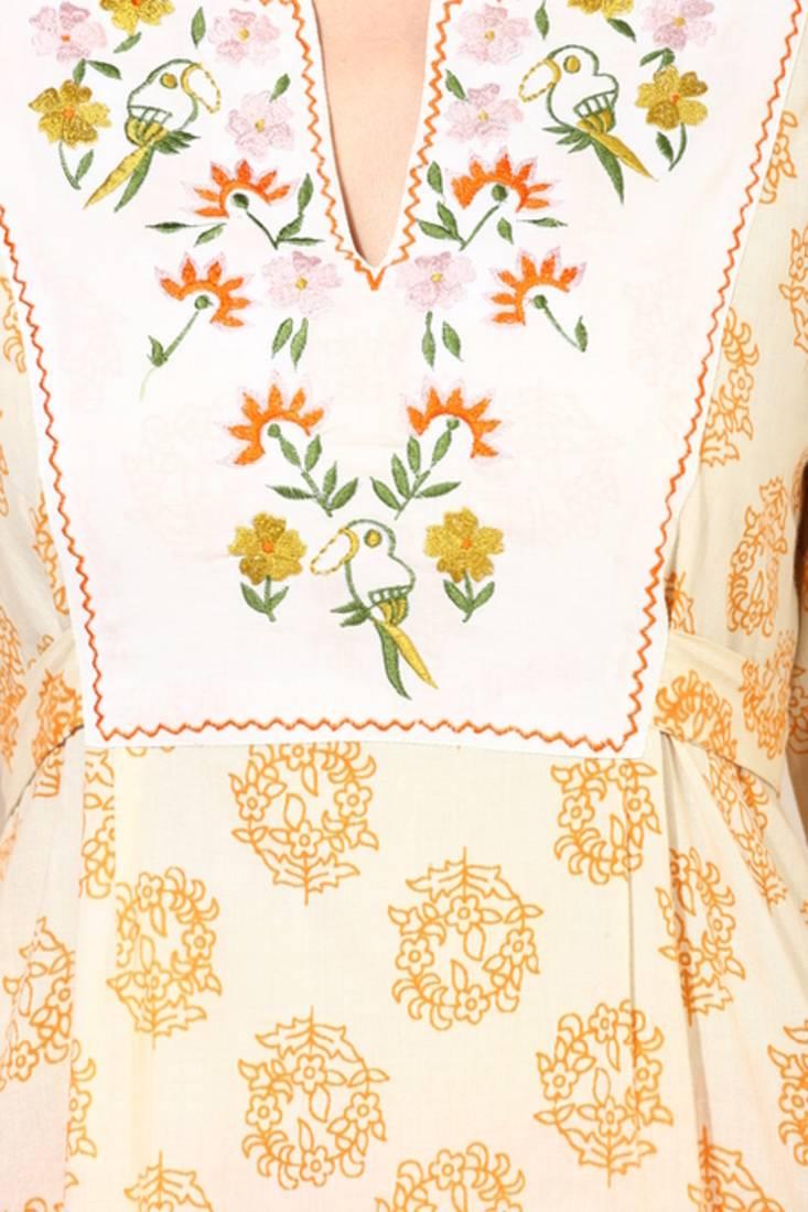 Buy avishi cream printed kurta with hand embroidery online