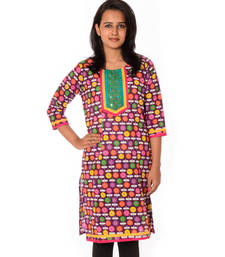Buy Multicolor Printed Cotton straight kurti kurtas-and-kurti online