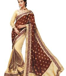 Buy Beige Border Worked Tissue,Crape,Jacquard Saree With Blouse tissue-saree online
