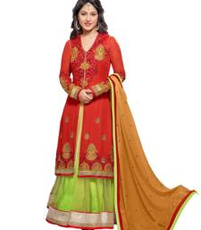 Buy Red and green georgette embroidered semi_stitched salwar with dupatta sunny-leone-salwar-kameez online