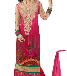 Buy Pink and cream georgette embroidered semi_stitched salwar with dupatta sunny-leone-salwar-kameez online